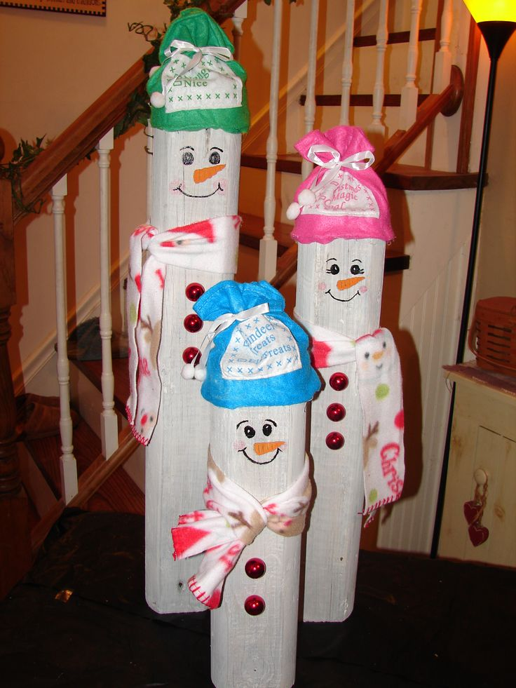 These are my little snowmen I made using a recycled landscape timber. I love the way they turned out!