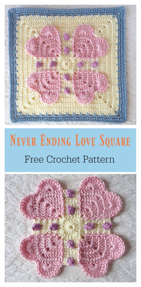 Never Ending Love Square Free Crochet Pattern Uncinetto Schemi Uncinetto Gratis Quadrati Uncinetto