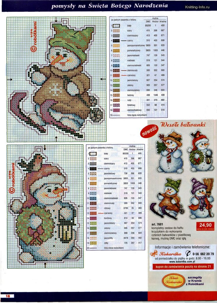 snowman ornaments page 1 - plastic canvas