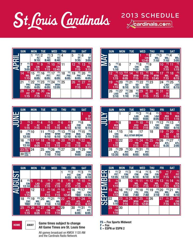 2013 Saint Louis Cardinals Schedule
