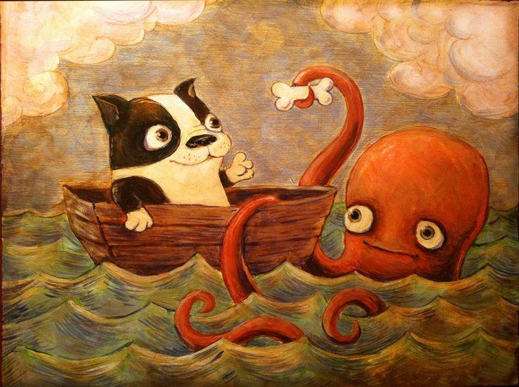 Mer PalsGiclée Art Print de Boston Terrier et le par DeannaMolinaro
