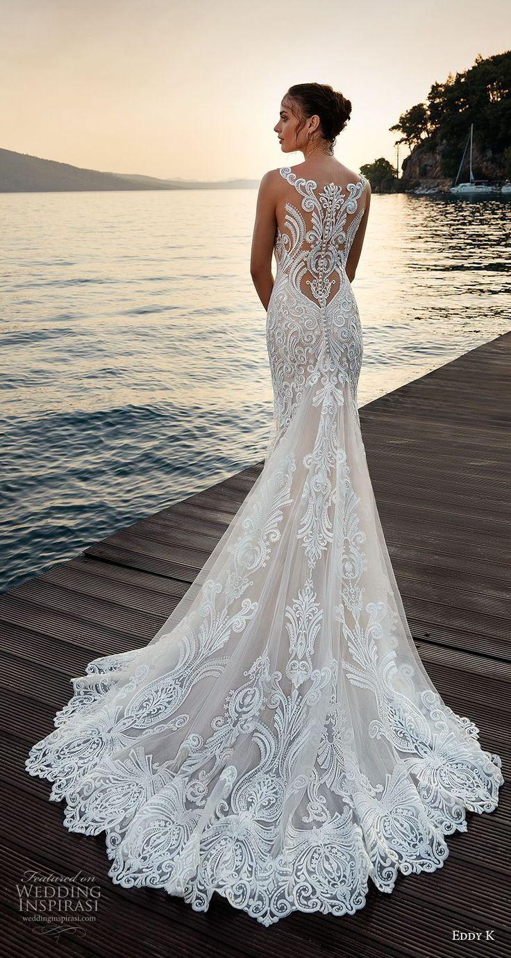 eabd816a082a eddy k 2018 bridal sleeveless with strap v neck full embellishment elegant  trumpet wedding dress sheer