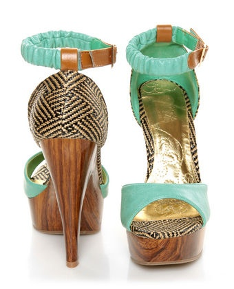 Mona Mia Trinidad Mint, Black & Tan Woven Platform Heels. Perfect summer