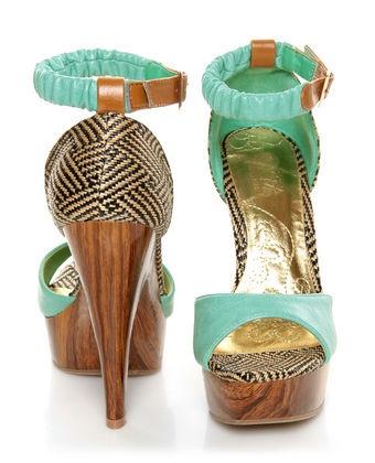 Mona Mia Trinidad Mint, Black & Tan Woven Platform Heels. Perfect summer