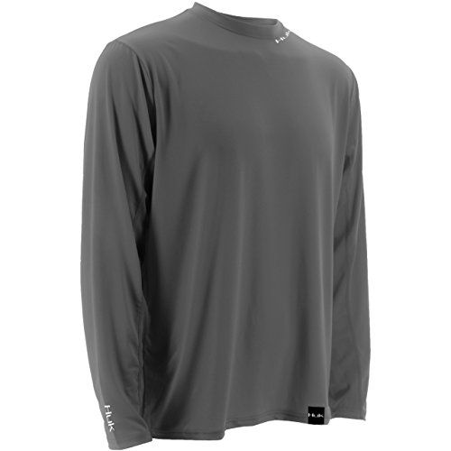 HUK LoPro Icon Long Sleeve Fishing T-shirt  http://fishingrodsreelsandgear.com/product/huk-lopro-icon-long-sleeve-fishing-t-shirt/?attribute_pa_size=small&attribute_pa_color=cool-charcoal-grey  High quality fishing apparel Long sleeve Huk style number: h1200070