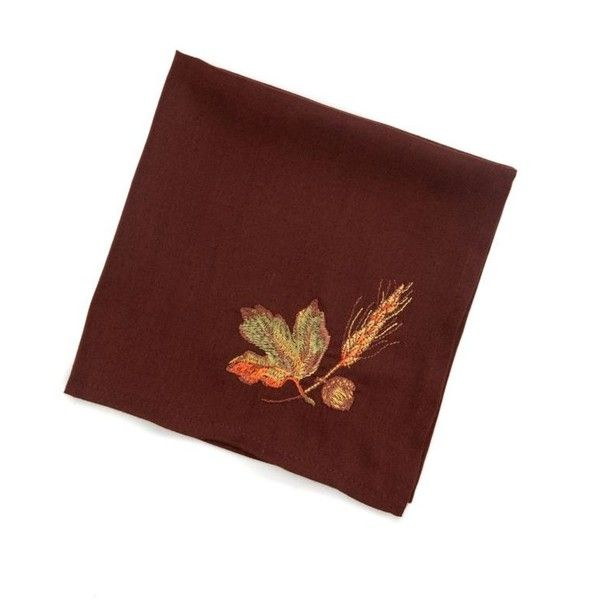 Bardwil Brown Pumpkin Grove ($3.50) ❤ liked on Polyvore featuring home, kitchen & dining, table linens, brown, embroidered placemats, brown placemats, bardwil table linens, brown napkins and embroidered table linens