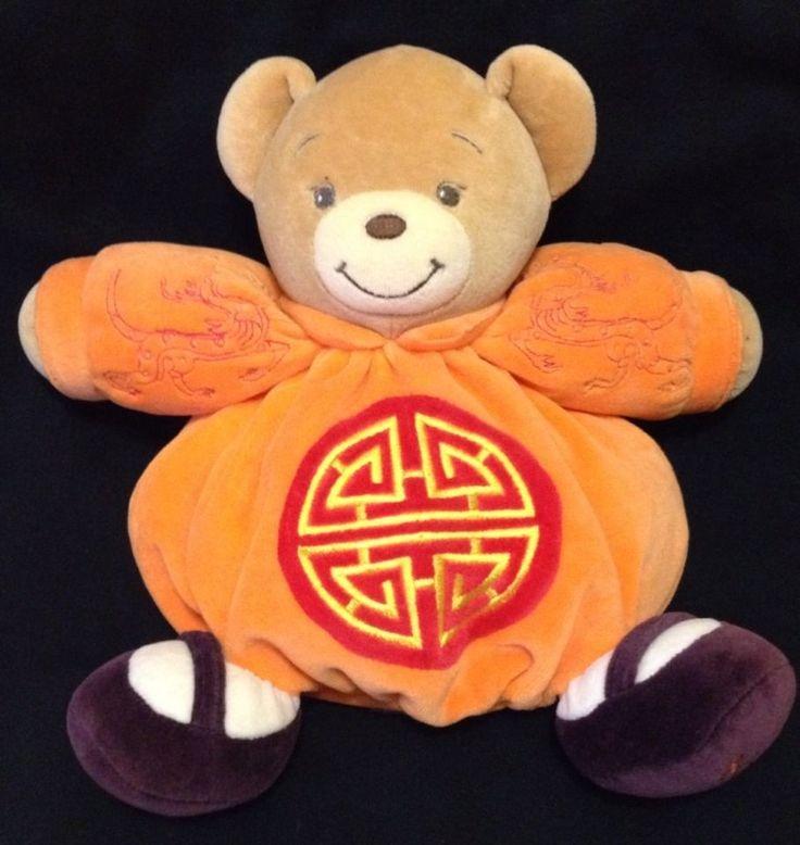"Kaloo Teddy Bear Feng Shui Orange Plush Soft Toy Comforter The Four Blessings 9"""