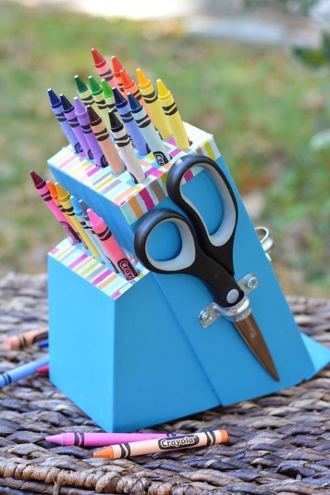Turn an Old Knife Block Into a DIY Crayon Holder! - How many times have you walked by old knife blocks at the thrift store and thought about creative ways to up…