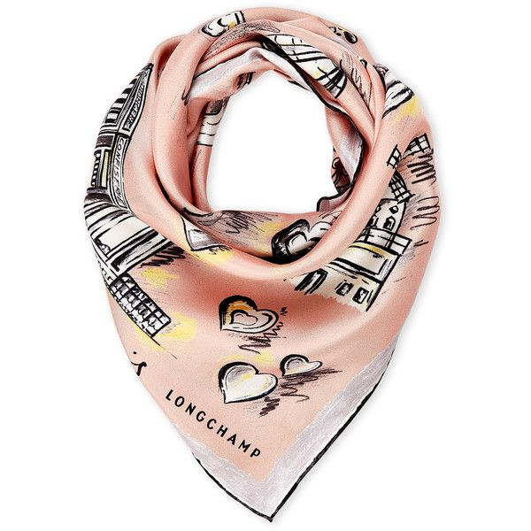 Longchamp Weekend in Paris Square Silk Scarf found on Polyvore featuring accessories, scarves, pink, square scarves, pure silk scarves, pink silk scarves, longchamp and woven scarves