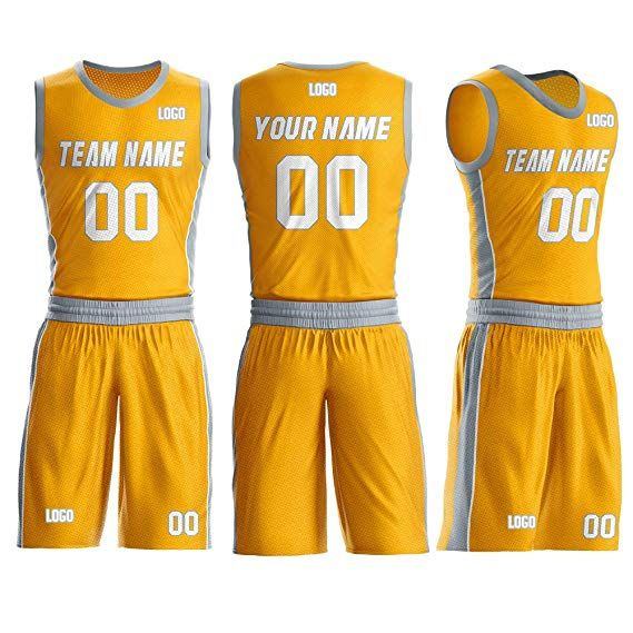 Custom Yellow And Gray Basketball Jersey Design Stitched Name And Numbers Breathable And Classic Custom Basketball Basketball Jersey Jersey Design