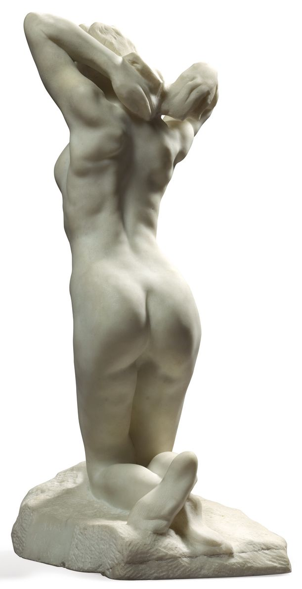 """Faunesse à genoux"""" (The Kneeling Female Faun) Auguste Rodin Marble, signed and dedicated to Maître Puvis de Chavannes on the base, H. 52cm...."""