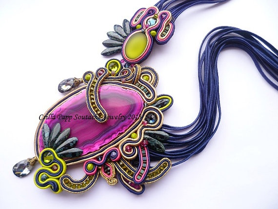 Designer OOAK Soutache Necklace Navy Blue and by ZoojaDesign, $180.00