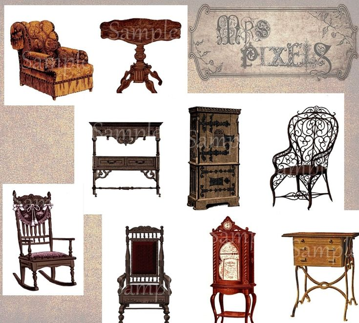 Fantastic furniture in a collage elements sheet, elegant and fashionable decor in printable images, for fun in arranging rooms in digital art Victorian style. #Furniture #Victorian #Vintage #AlteredArt #CollageElements