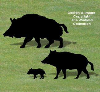 Wild Boar Family Shadow Pattern NEW!  Passersby will look twice when they see these life-size wild boars wandering across your yard!