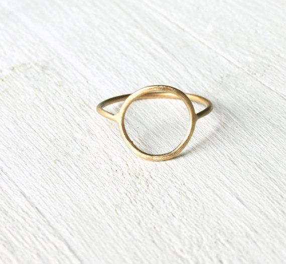 Open Circle solid 14k gold ring / Halo thin by SilverLinesJewelry