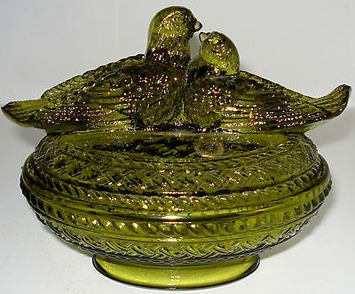Rare Westmoreland Olive Green Molded Glass Lovebirds Covered Candy Dish Olives Candy Dishes