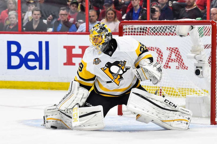 OTTAWA, ON - MAY 17: Marc-Andre Fleury #29 of the Pittsburgh Penguins makes a pad save against the Ottawa Senators in Game Three of the Eastern Conference Final during the 2017 NHL Stanley Cup Playoffs at Canadian Tire Centre on May 17, 2017 in Ottawa, Ontario, Canada. The Ottawa Senators defeated the Pittsburgh Penguins 5-1. (Photo by Minas Panagiotakis/Getty Images)