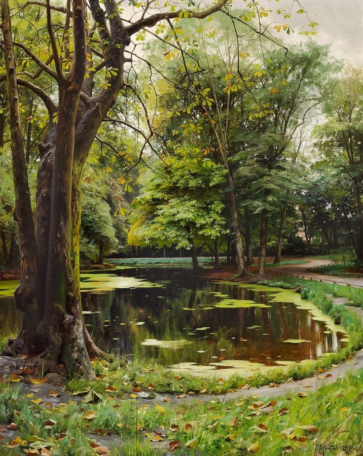 Peder Mørk Mønsted (Danish, 1859-1941), A Lake in a Park with Chestnut Trees, 1901, oil on canvas, 106 x 84 cm, private collection ""
