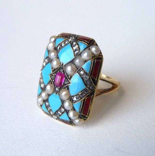 Bold 14k gold and enamel ring with rose cut diamond, pearl and ruby accents  - Circa 1930s by hester