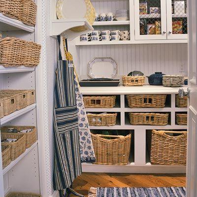 kitchen pantry: Beadboard Cupboards, Wicker Baskets, Organizations Cupboards, Beads Boards, Amazing Pantries, Aprons, Baskets Organizations, Baskets Pantries, Baskets Ideas