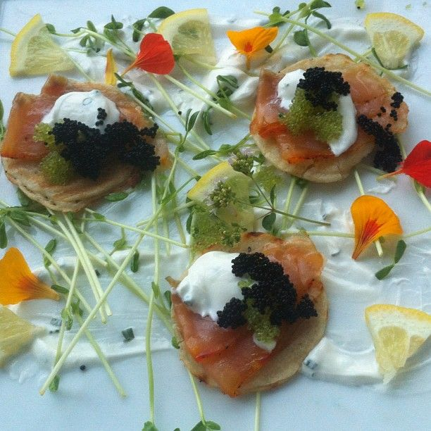 Lemon Bellini, House cured & smoked salmon, 2 types of caviar ((Marsh Tavern @ The Equinox Hotel in Manchester, VT))