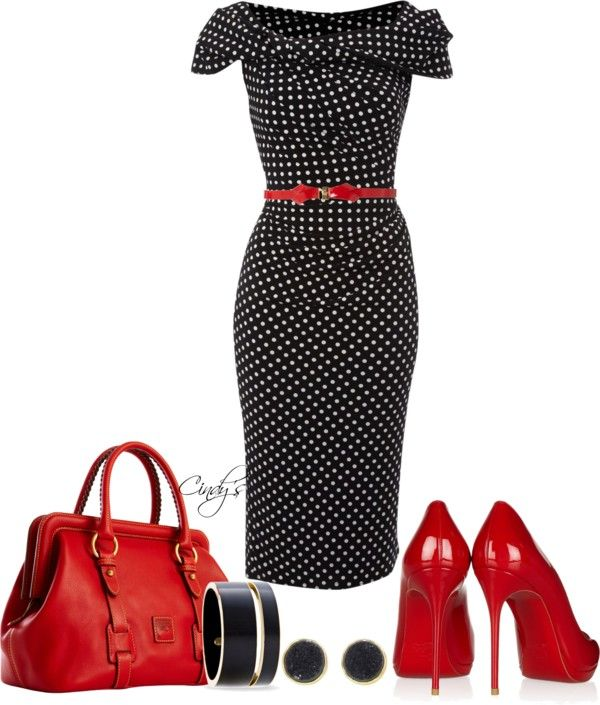 """Pied a Terre Polka dot slinky knot dress"" by cindycook10 ❤ liked on Polyvore"