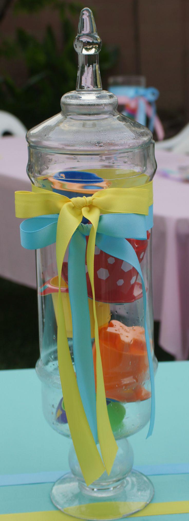 Gender neutral baby shower centerpiece toys in glass
