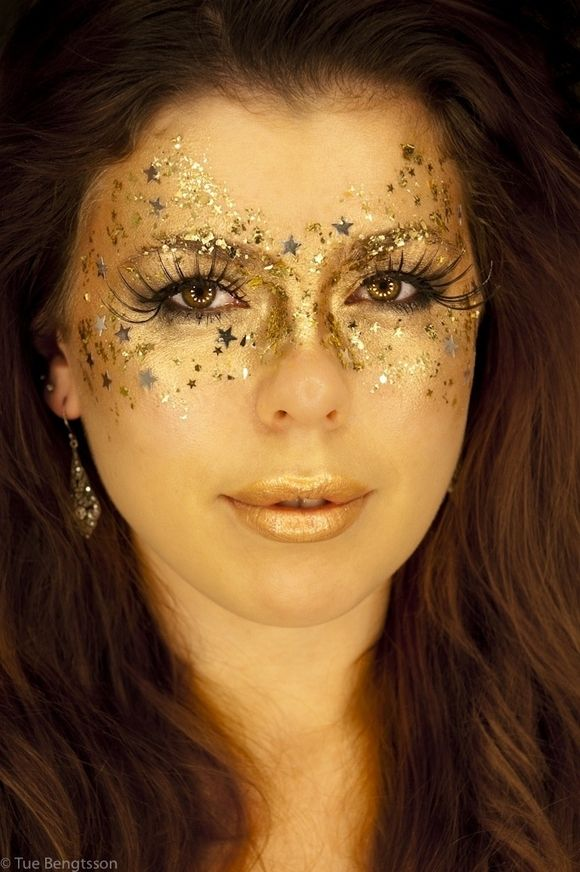 Halloween Makeup Ideas.  While this looks so pretty, if I were to wear it and laugh till I cried it be a PIA to get the glitter out of my eyes. lol