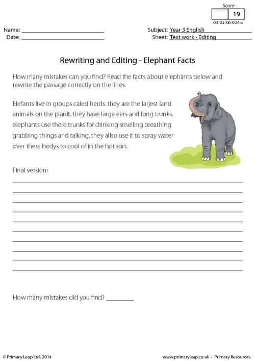 rewriting and editing elephant facts worksheet teaching reading writing. Black Bedroom Furniture Sets. Home Design Ideas