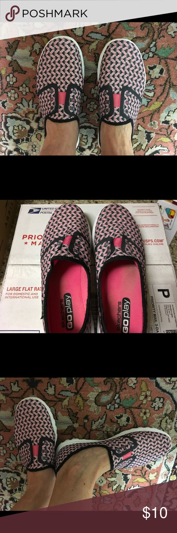 Sketchers Go Play Sketchers Go Play Resalyte slip on shoes size 8 in good condition very comfy Navy pink white Skechers Shoes Sneakers