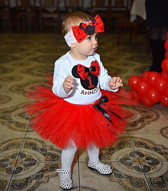 Tutu rojo hecho a mano de Minnie Mouse niñas cumpleaños