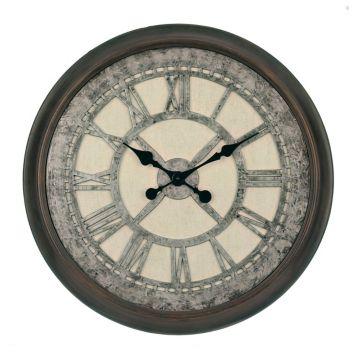 "Galvanized Cream Wall Clock 30"""