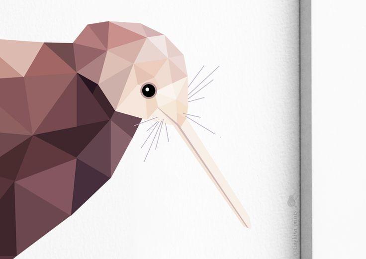 Kiwi, New Zealand Kiwi, Geometric print, Original illustration, Animal print, Minimal art, Nursery wall art