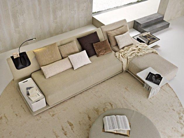 Canapé d'angle en tissu avec tapis rond