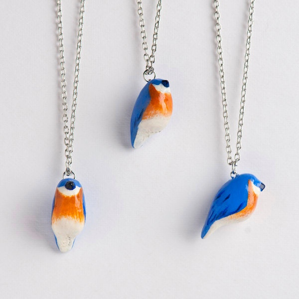 Bluebird Necklace - Le Happy Bluebird Totem by le animalé