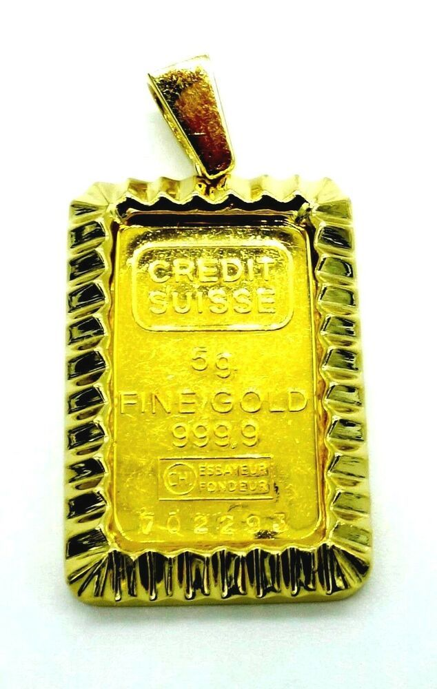 Solid Gold Bar Pendant 5 Gram Fine Gold 999 Bar 14k Solid Gold Bezel 14kt 585 Pendant Gold Bar Pendant Bar Pendant Gold Bar