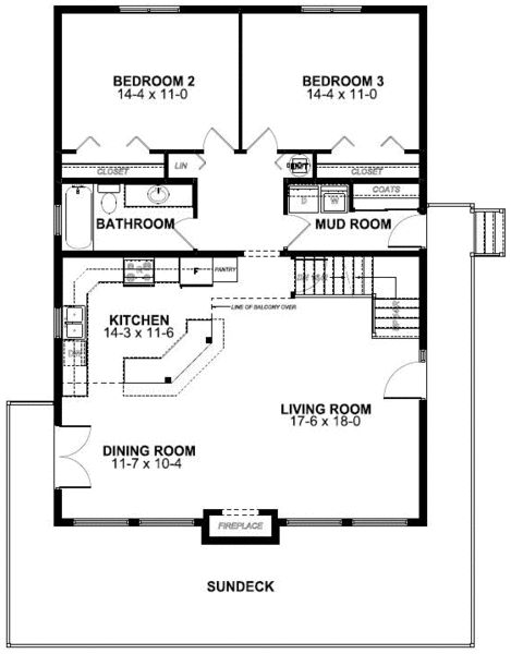 1269 Sq Ft First Floor Plan Of A Frame Vacation House Plan 99961