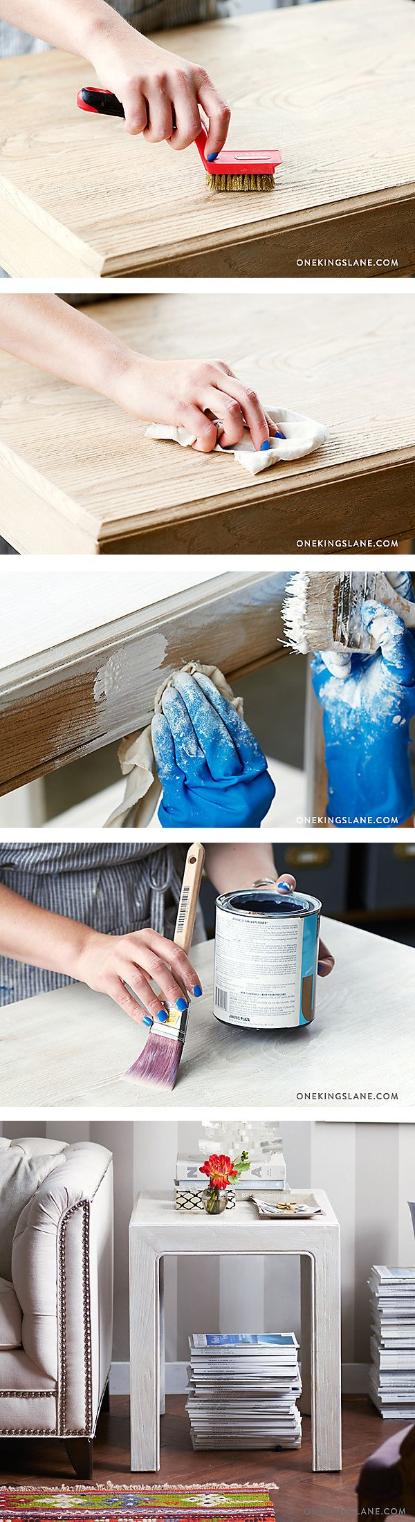Learn how to whitewash furniture from our #WeekendDecorator: https://www.onekingslane.com/live-love-home/simplest-best-way-whitewash-wood-furniture/