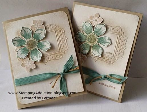 Stampin' Up! ... handmade cards from Stamping Addiction ... vintage look ... sponged aging ... kraft, vanilla and Lost Lagoon ... stamped and punched flower ...embossing folder dotty frame ... like these cards ...