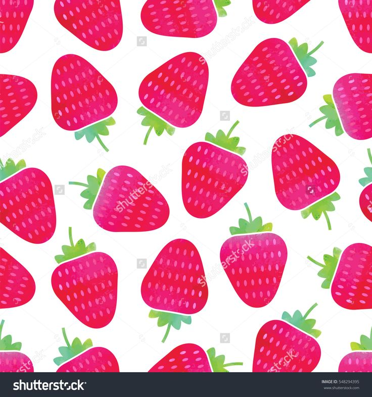 Seamless Strawberry Pattern in Watercolor Style