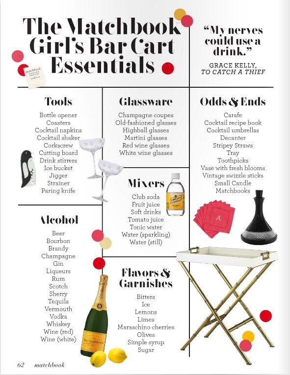 matchbook magazine, bar cart essentials, home bar, whimsy