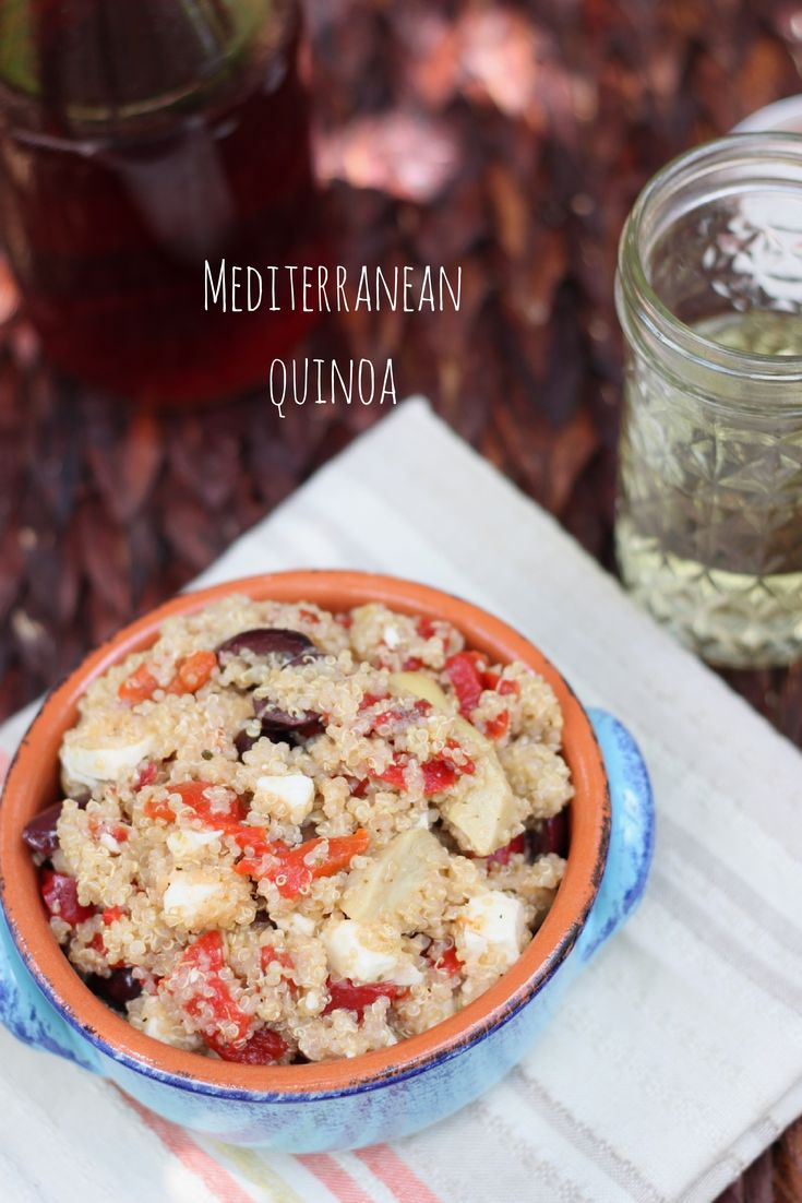 Mediterranean quinoa - feta, kalamata olives, red peppers and artichokes with a red wine vinaigrette