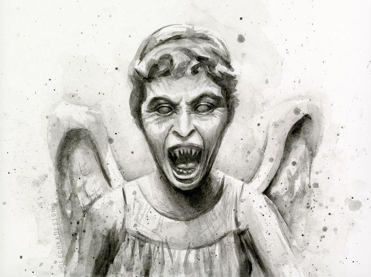 Weeping Angel Watercolor Art