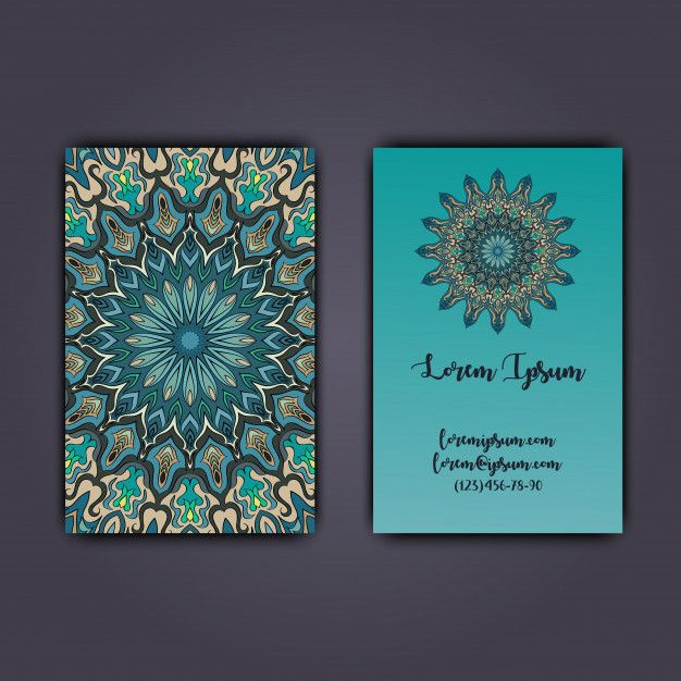 Luxury business cards with floral mandala ornament. Vintage decorative elements Premium Vector