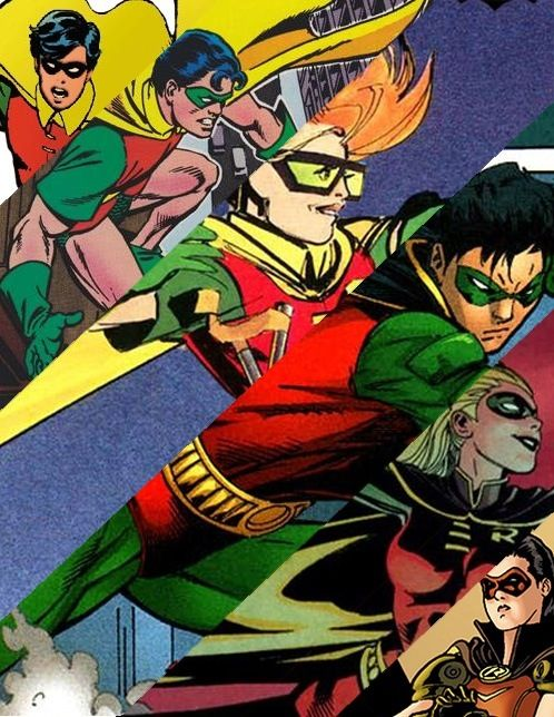 Six of the seven Robins. Only Damian is missing. From left to right; Dick Grayson, Jason Todd, Carrie Kelly, Tim Drake, Stephanie Brown and Helena Wayne.