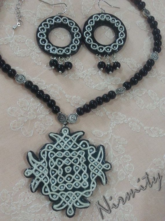 Kolam necklace set terracotta jewelry-statement by NIRMITY