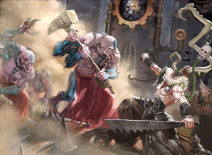 Members of a Genestealer Cult infiltrating a(n) Mechanicus world under assault by Dark Eldar