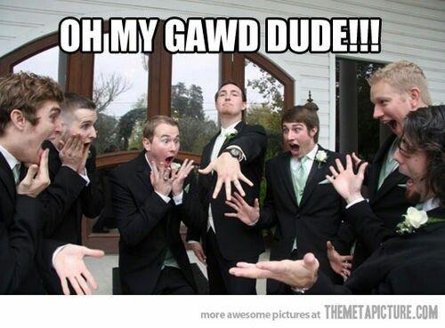Funny guys imitating Bride and Bridesmaids.
