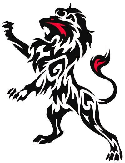 outline lion; possible tattoo, except without the red...