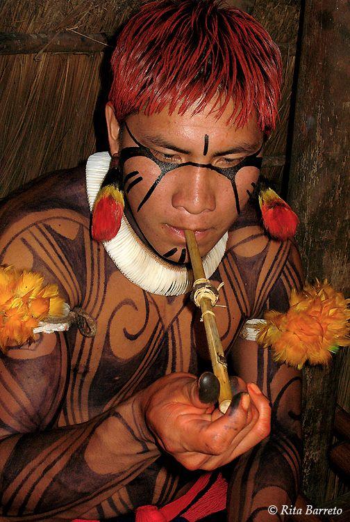 Índio Munaí Etnia Kuikuro - Alto Xingú - Mato Grosso - Brasil